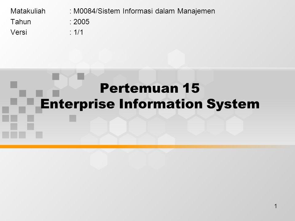 1 Pertemuan 15 Enterprise Information System Matakuliah: M0084/Sistem Informasi dalam Manajemen Tahun: 2005 Versi: 1/1