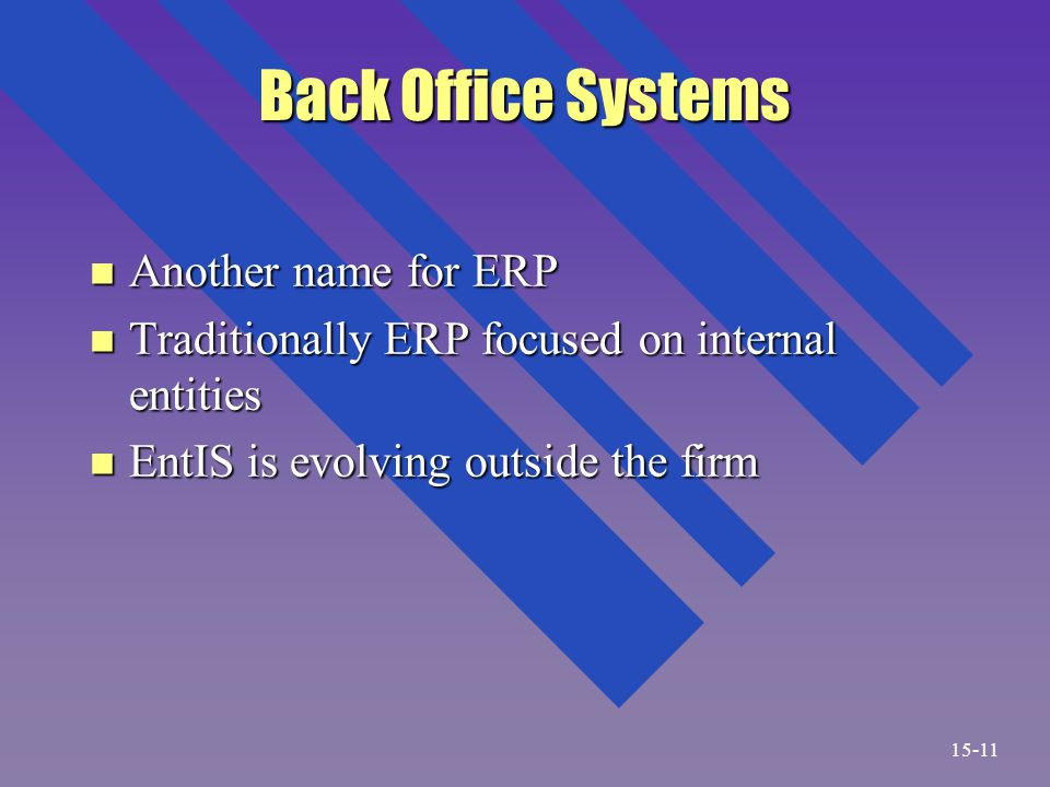 Back Office Systems n Another name for ERP n Traditionally ERP focused on internal entities n EntIS is evolving outside the firm 15-11