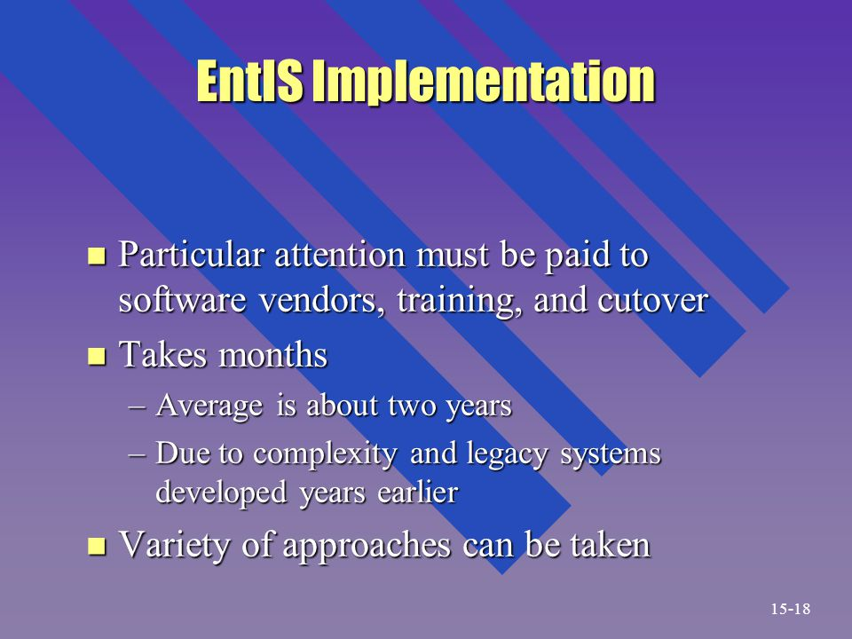 EntIS Implementation n Particular attention must be paid to software vendors, training, and cutover n Takes months –Average is about two years –Due to complexity and legacy systems developed years earlier n Variety of approaches can be taken 15-18