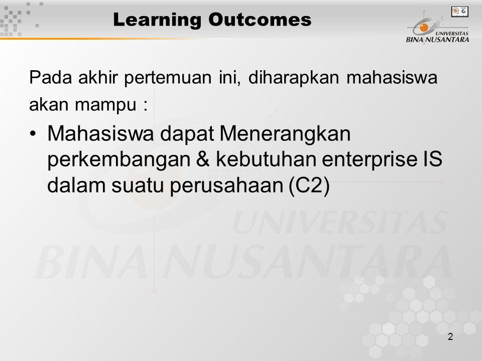 2 Learning Outcomes Pada akhir pertemuan ini, diharapkan mahasiswa akan mampu : Mahasiswa dapat Menerangkan perkembangan & kebutuhan enterprise IS dalam suatu perusahaan (C2)