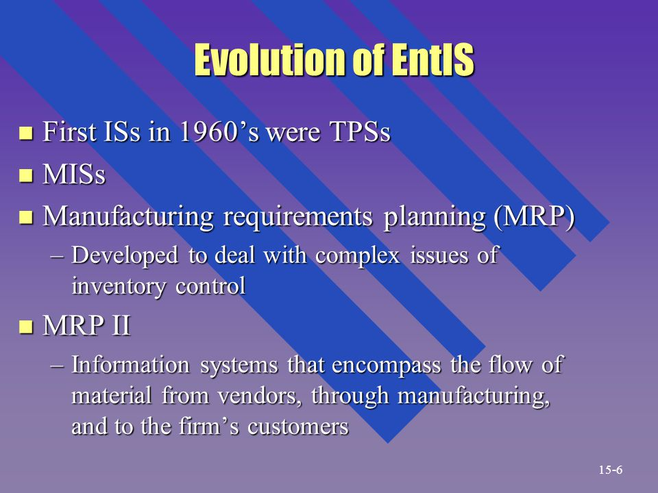 Evolution of EntIS Evolution of EntIS n First ISs in 1960's were TPSs n MISs n Manufacturing requirements planning (MRP) –Developed to deal with complex issues of inventory control n MRP II –Information systems that encompass the flow of material from vendors, through manufacturing, and to the firm's customers 15-6