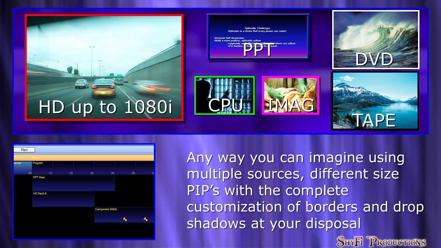 Any way you can imagine using multiple sources, different size PIP's with the complete customization of borders and drop shadows at your disposal Any way you can imagine using multiple sources, different size PIP's with the complete customization of borders and drop shadows at your disposal HD up to 1080i DVD TAPE Optimistic Challenges Optimism is a choice that every person can make.