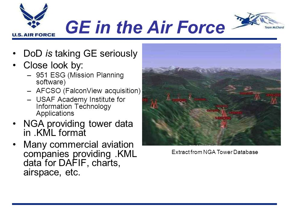 GE in the Air Force DoD is taking GE seriously Close look by: –951 ESG (Mission Planning software) –AFCSO (FalconView acquisition) –USAF Academy Insti