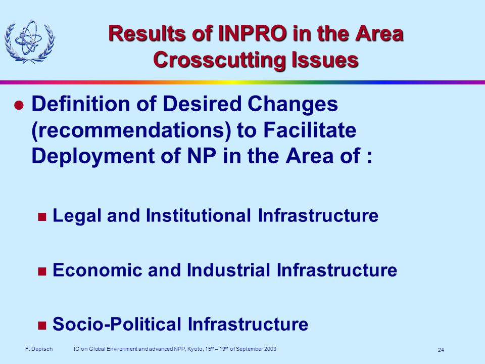 F. DepischIC on Global Environment and advanced NPP, Kyoto, 15 th – 19 th of September 2003 24 Results of INPRO in the Area Crosscutting Issues Defini