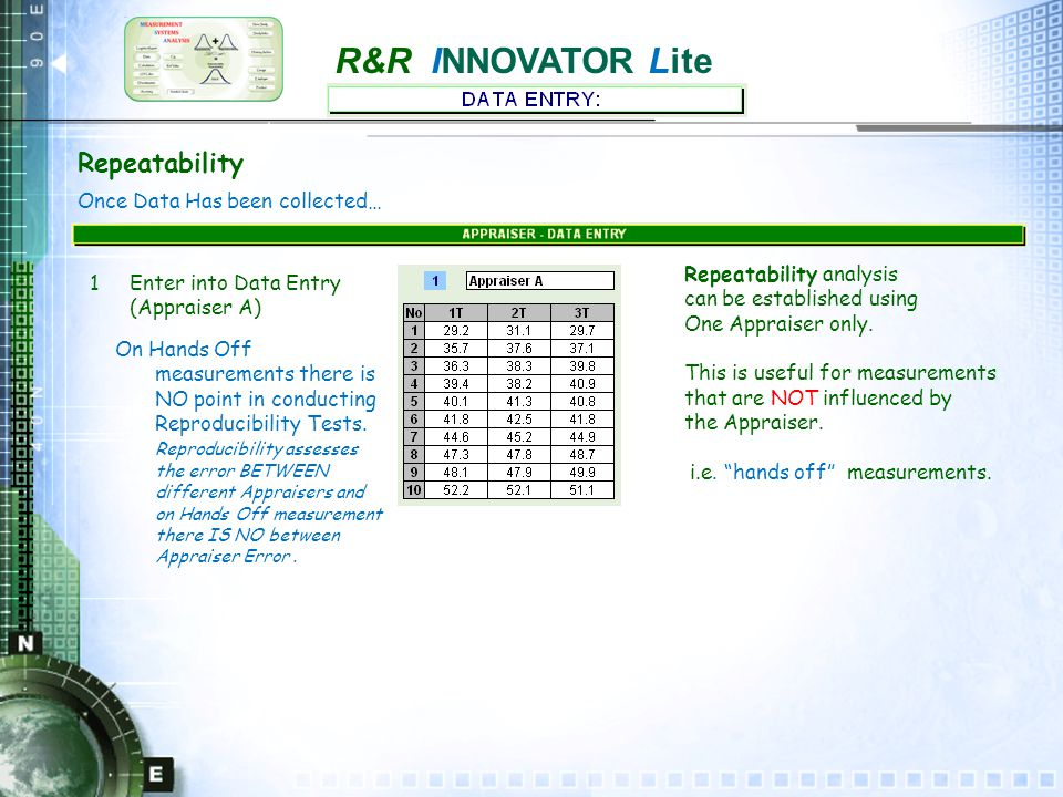 R&R INNOVATOR Lite Repeatability - statistical test - using Range 1 The Range of the 2/3 trials of each Appraiser is calculated.