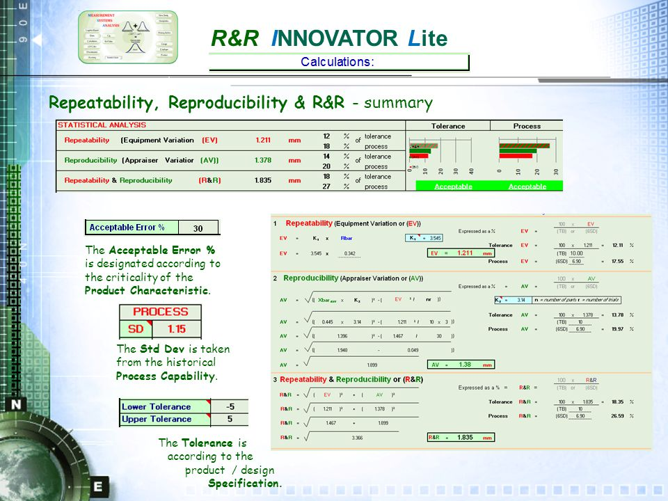 R&R INNOVATOR Lite Discrimination & Resolution Resolution should be 10%> of tolerance.