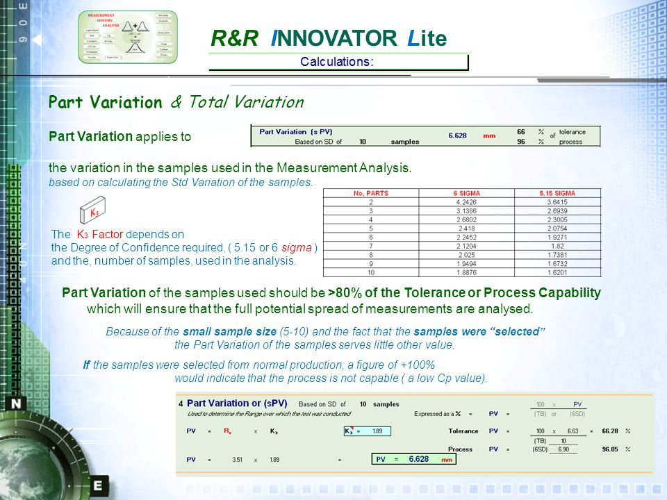 R&R INNOVATOR Lite Part Variation (based on 10 samples) & Total Variation Total Variation considers the Part (sample) Variation + The Measurement Error.