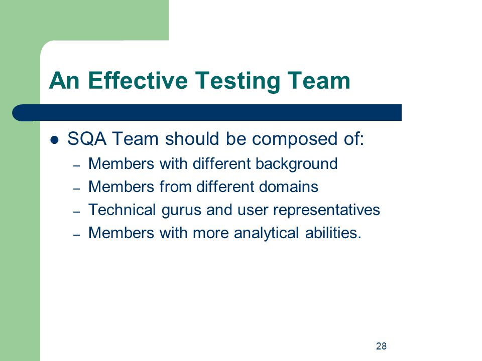 28 An Effective Testing Team SQA Team should be composed of: – Members with different background – Members from different domains – Technical gurus an