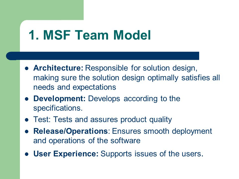 1. MSF Team Model Architecture: Responsible for solution design, making sure the solution design optimally satisfies all needs and expectations Develo