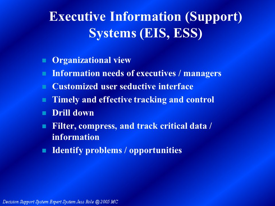 Executive Information (Support) Systems (EIS, ESS) n Organizational view n Information needs of executives / managers n Customized user seductive interface n Timely and effective tracking and control n Drill down n Filter, compress, and track critical data / information n Identify problems / opportunities