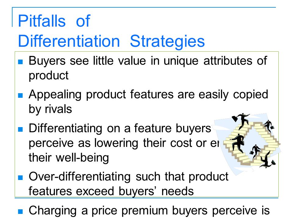 Pitfalls of Differentiation Strategies Buyers see little value in unique attributes of product Appealing product features are easily copied by rivals