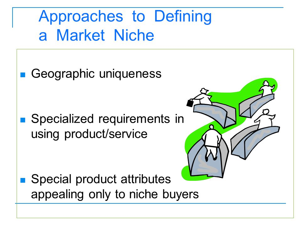Geographic uniqueness Specialized requirements in using product/service Special product attributes appealing only to niche buyers Approaches to Defini