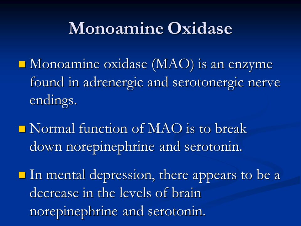 Monoamine Oxidase Monoamine oxidase (MAO) is an enzyme found in adrenergic and serotonergic nerve endings. Monoamine oxidase (MAO) is an enzyme found