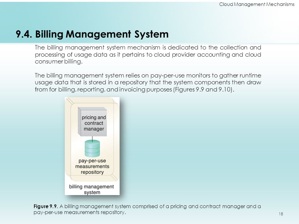 Cloud Management Mechanisms 9.4. Billing Management System The billing management system mechanism is dedicated to the collection and processing of us