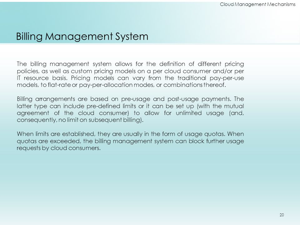 Cloud Management Mechanisms Billing Management System The billing management system allows for the definition of different pricing policies, as well a