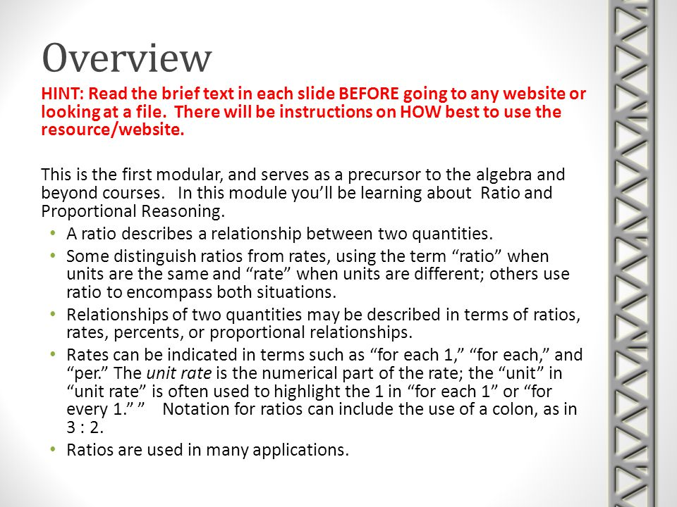 Overview HINT: Read the brief text in each slide BEFORE going to any website or looking at a file.