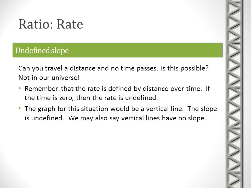 Undefined slope Can you travel a distance and no time passes.