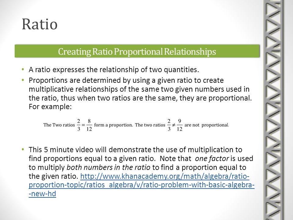 Creating Ratio Proportional Relationships A ratio expresses the relationship of two quantities.