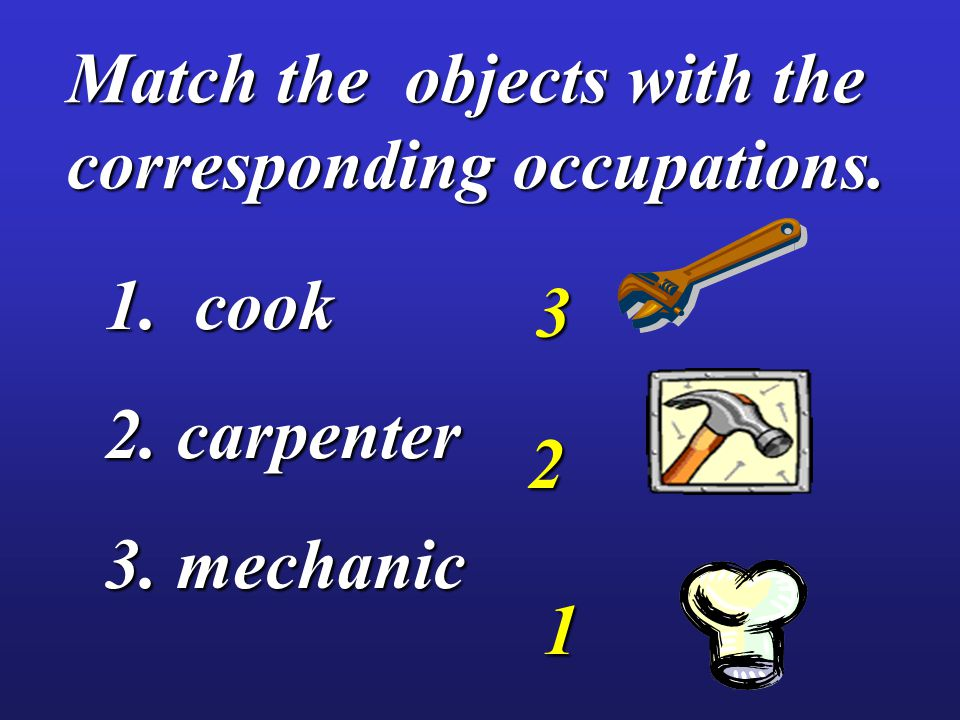 Match the objects with the corresponding occupations. 1. cook 2. carpenter 3. mechanic 1 2 3