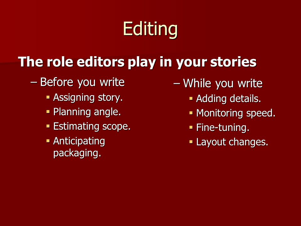Editing –Before you write  Assigning story.  Planning angle.