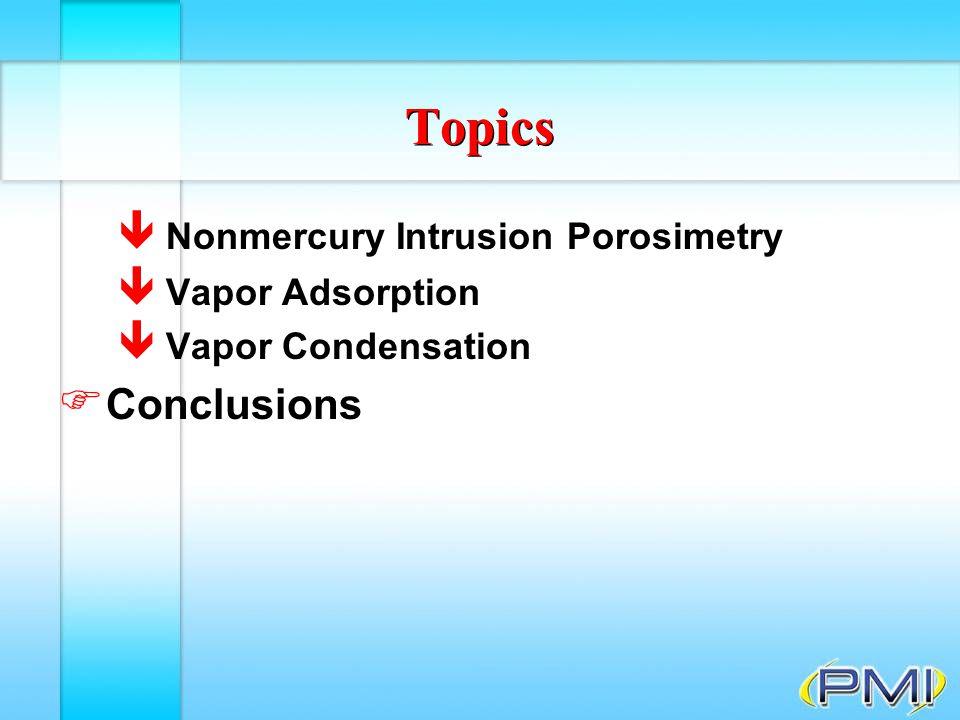 Vapor Condensation Adsorption and desorption isotherms and hystersis Adsorption and desorption isotherms
