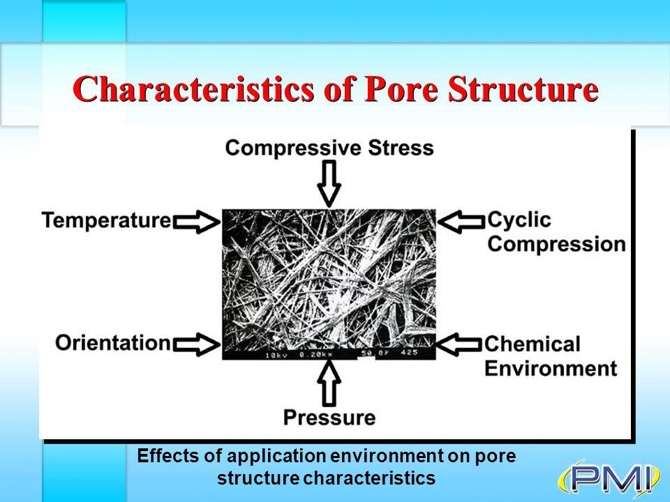 Extrusion Porosimetry F Gas that displaces liquid in sample pores does not pass through membrane Principle of extrusion porosimetry