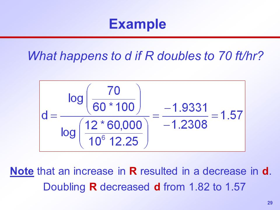 29 Example What happens to d if R doubles to 70 ft/hr.
