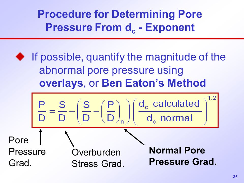 36 Procedure for Determining Pore Pressure From d c - Exponent u If possible, quantify the magnitude of the abnormal pore pressure using overlays, or