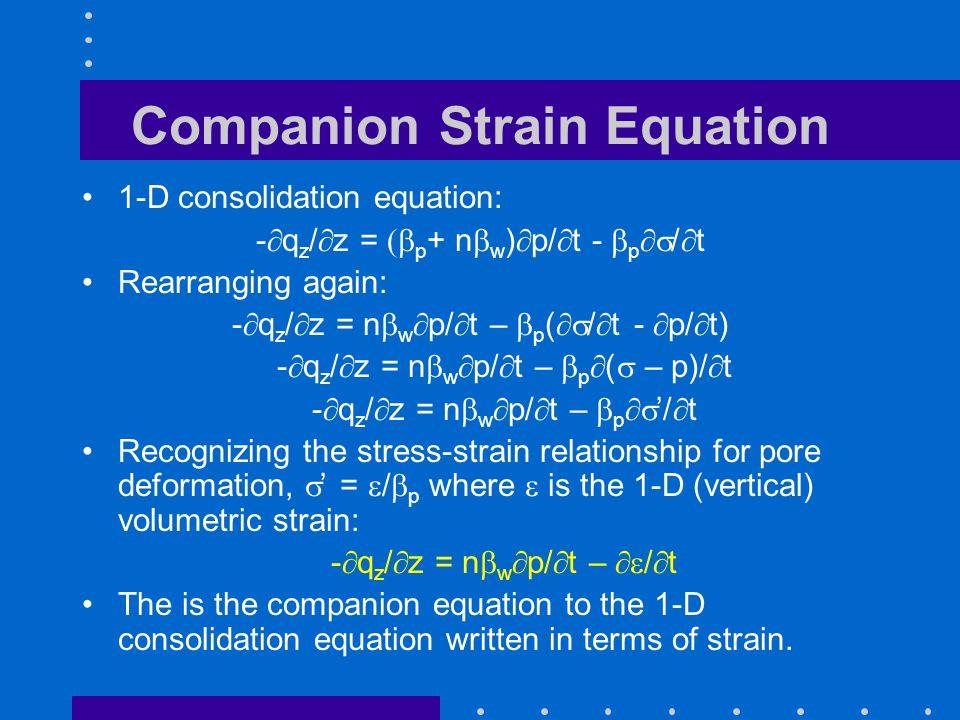 Companion Strain Equation 1-D consolidation equation: -  q z /  z =  p + n  w )  p/  t -  p  /  t Rearranging again: -  q z /  z =  n 