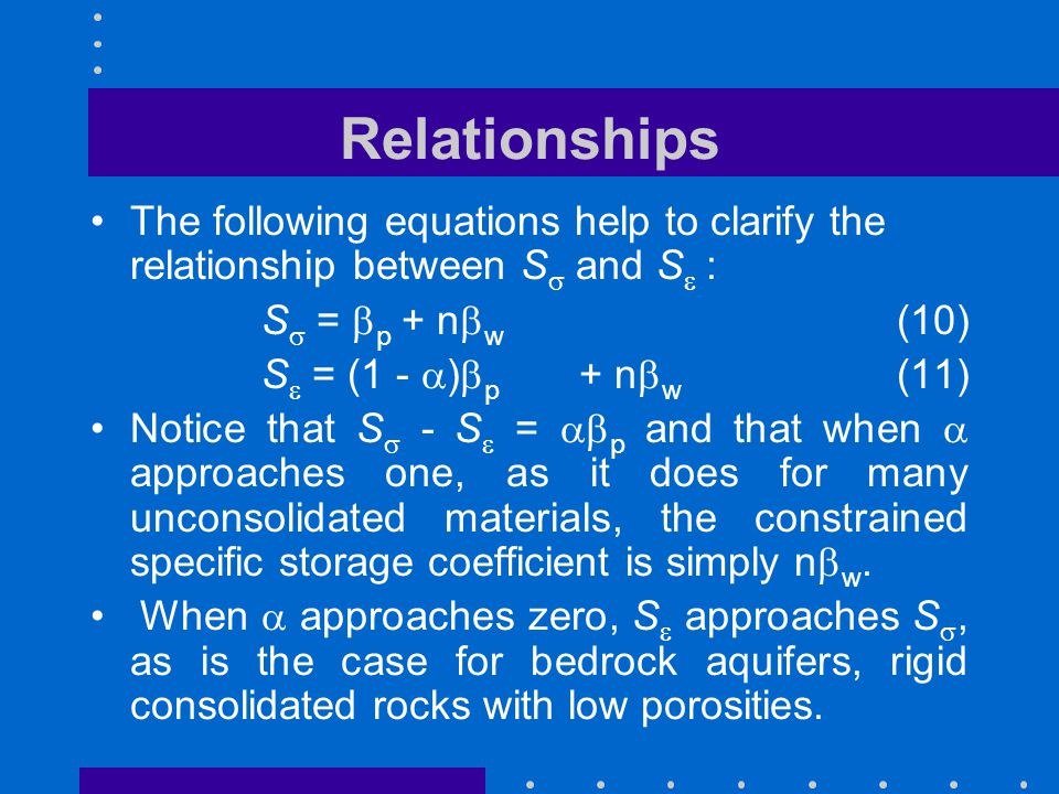 Relationships The following equations help to clarify the relationship between S  and S   : S  =  p + n  w (10) S  = (1 -  )  p + n  w (11)