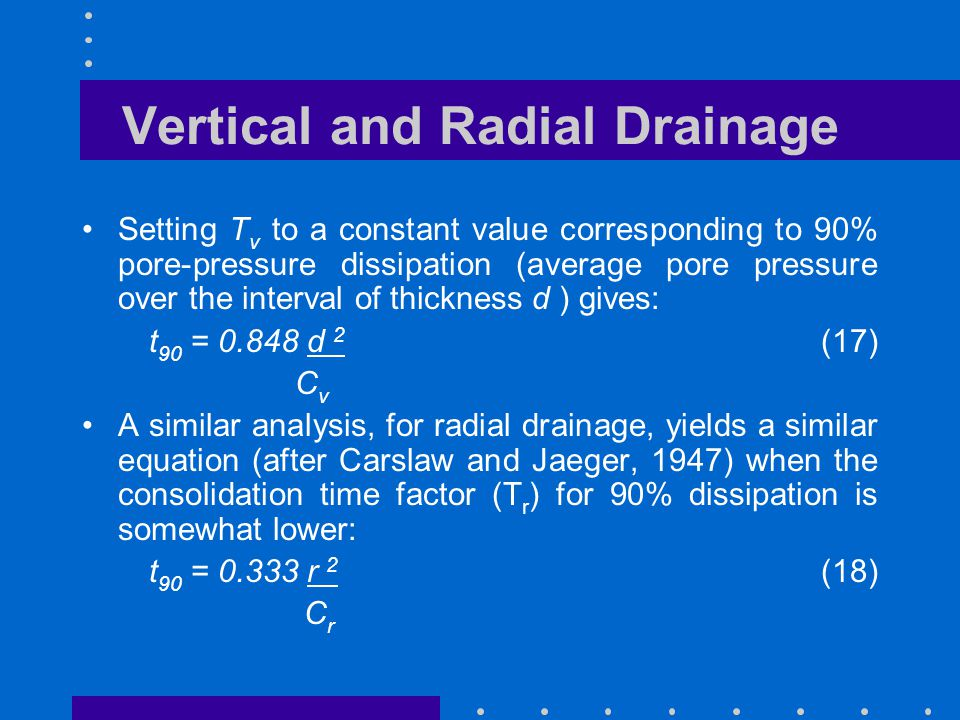 Vertical and Radial Drainage Setting T v to a constant value corresponding to 90% pore-pressure dissipation (average pore pressure over the interval o
