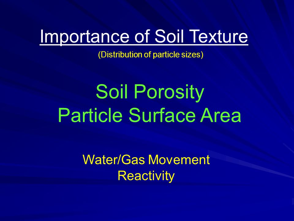 Importance of Soil Texture Soil Porosity Particle Surface Area (Distribution of particle sizes) Water/Gas Movement Reactivity