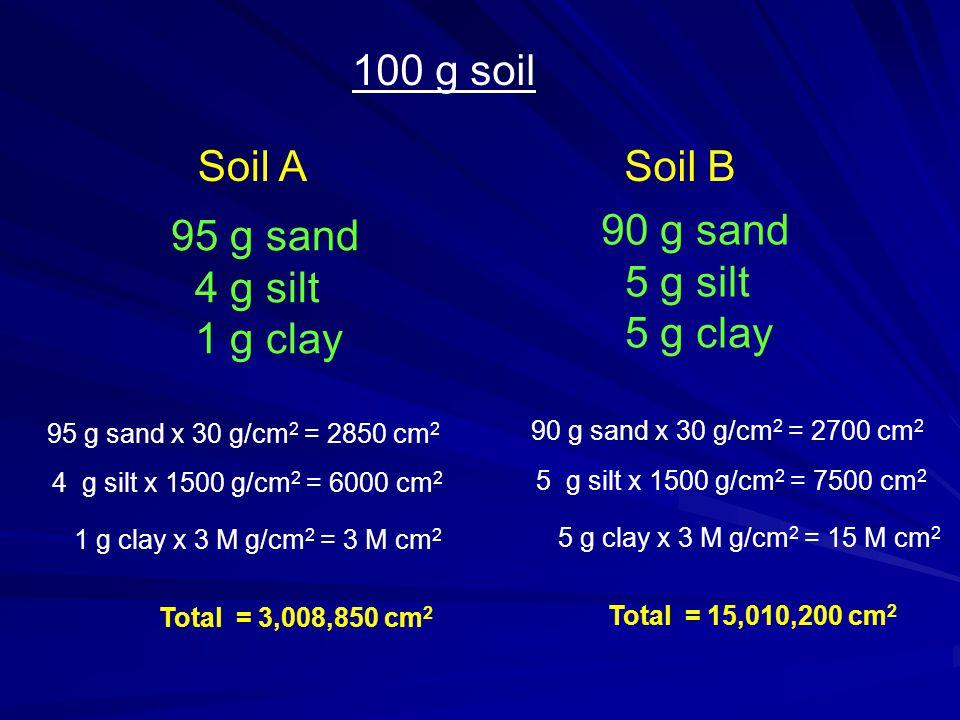 Soil A 100 g soil Soil B 95 g sand 4 g silt 1 g clay 90 g sand 5 g silt 5 g clay 95 g sand x 30 g/cm 2 = 2850 cm 2 4 g silt x 1500 g/cm 2 = 6000 cm 2 1 g clay x 3 M g/cm 2 = 3 M cm 2 Total = 3,008,850 cm 2 90 g sand x 30 g/cm 2 = 2700 cm 2 5 g silt x 1500 g/cm 2 = 7500 cm 2 5 g clay x 3 M g/cm 2 = 15 M cm 2 Total = 15,010,200 cm 2
