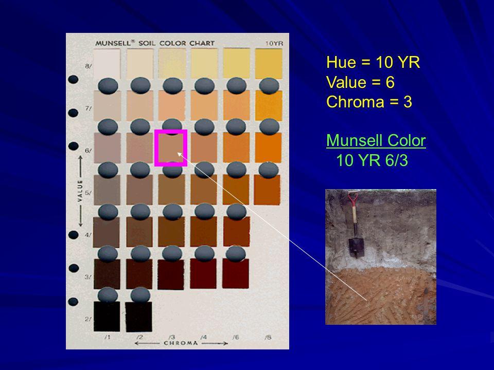 Hue = 10 YR Value = 6 Chroma = 3 Munsell Color 10 YR 6/3