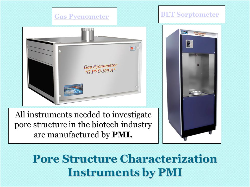 Pore Structure Characterization Instruments by PMI Gas Pycnometer BET Sorptometer All instruments needed to investigate pore structure in the biotech