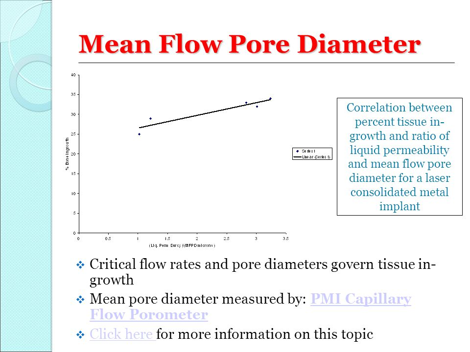 Mean Flow Pore Diameter  Critical flow rates and pore diameters govern tissue in- growth  Mean pore diameter measured by: PMI Capillary Flow Poromet