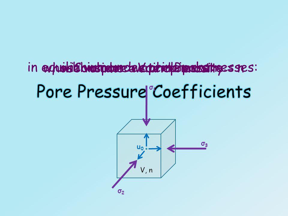 Consider a soil element: whose volume = V and Porosity = n V, n in equilibrium under principal stresses: σ1σ1 σ3σ3 σ2σ2 with a pore water pressure: u0u0