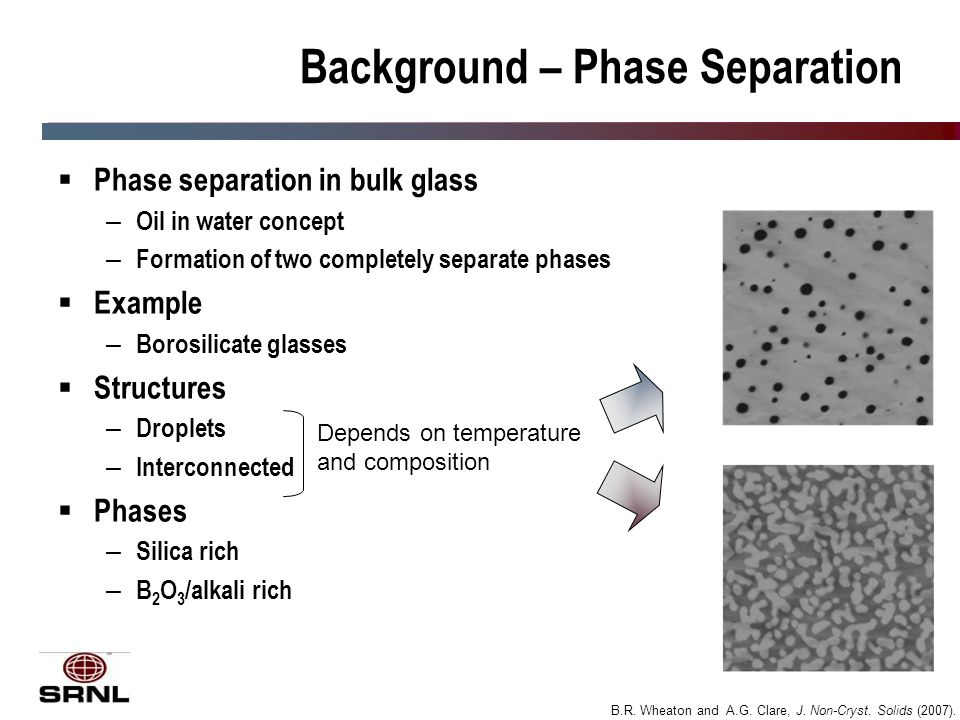 3 Background – Phase Separation  Phase separation in bulk glass – Oil in water concept – Formation of two completely separate phases  Example – Borosilicate glasses  Structures – Droplets – Interconnected  Phases – Silica rich – B 2 O 3 /alkali rich Depends on temperature and composition B.R.