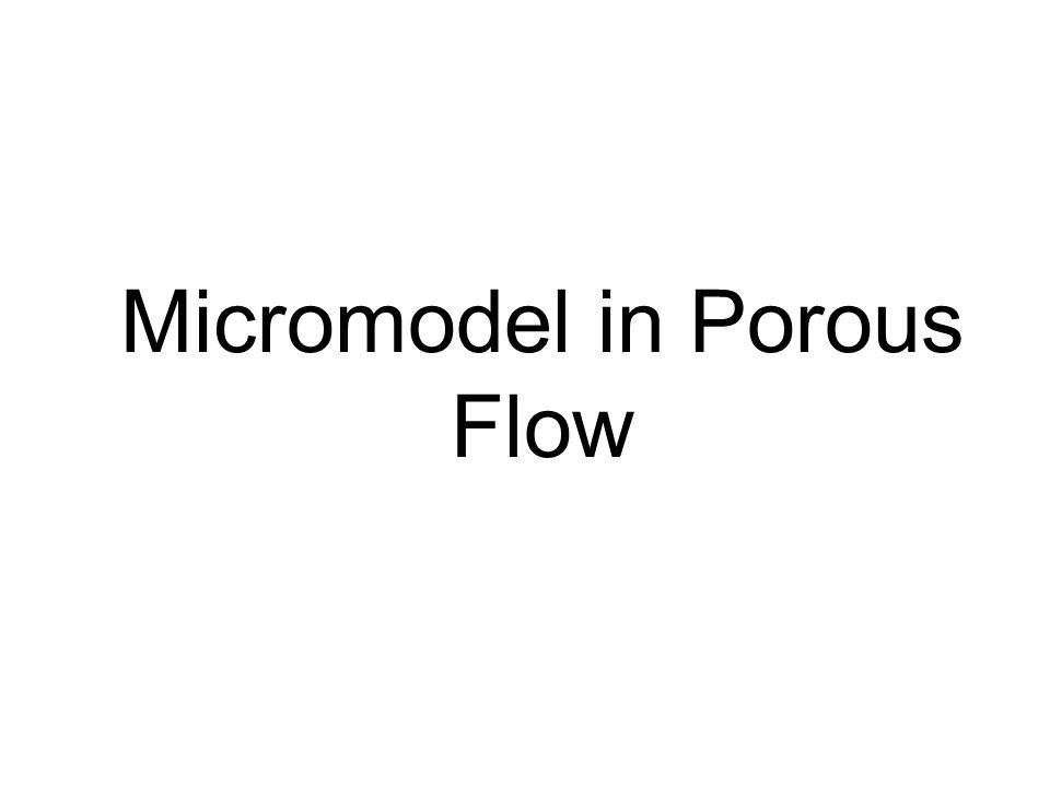 Micromodel in Porous Flow