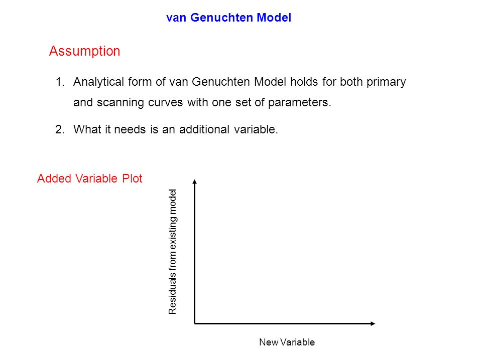 Assumption 1.Analytical form of van Genuchten Model holds for both primary and scanning curves with one set of parameters.