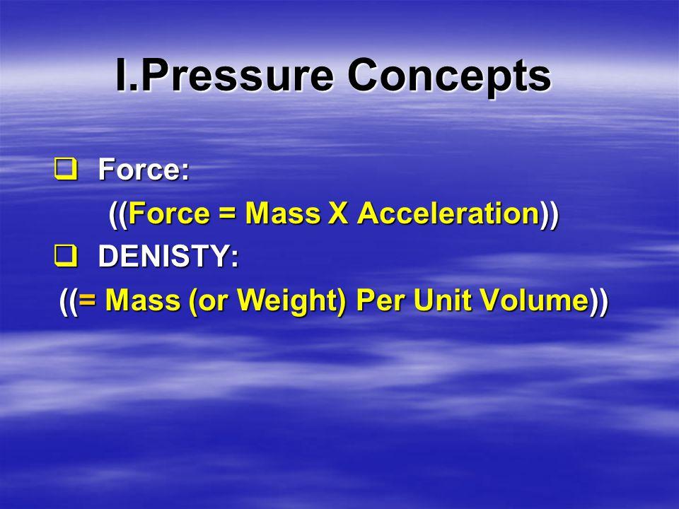 I.Pressure Concepts  Depth:  Measured Depth (MD).  True Vertical Depth (TVD).