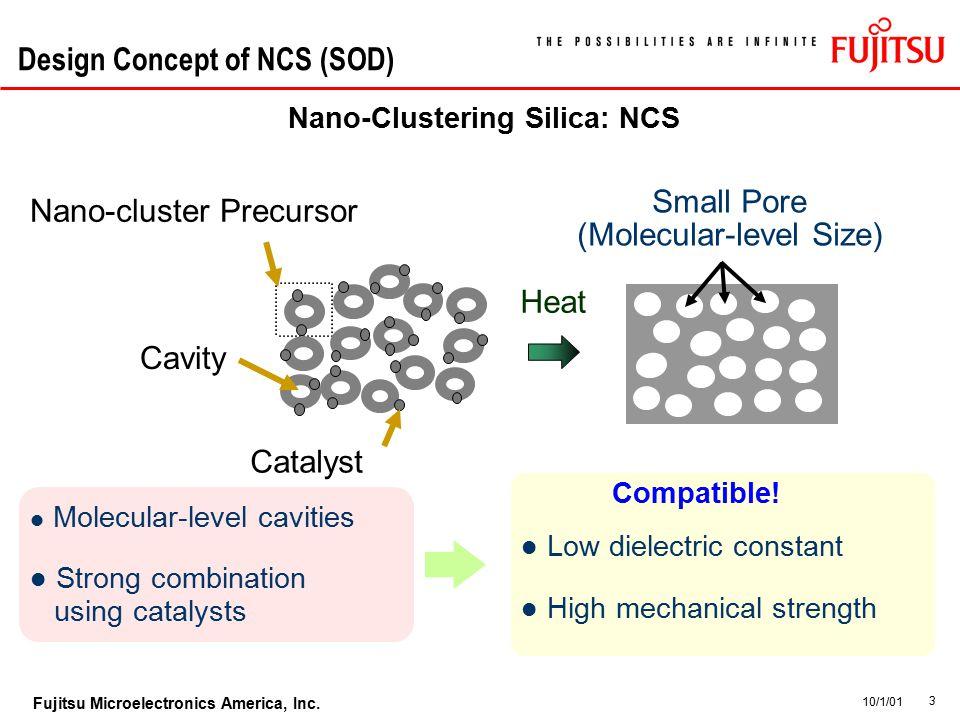 3 Fujitsu Microelectronics America, Inc. 10/1/01 Design Concept of NCS (SOD) Nano-Clustering Silica: NCS Molecular-level cavities High mechanical stre