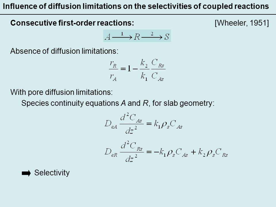 Influence of diffusion limitations on the selectivities of coupled reactions [Wheeler, 1951]Consecutive first-order reactions: Absence of diffusion limitations: With pore diffusion limitations: Species continuity equations A and R, for slab geometry: Selectivity