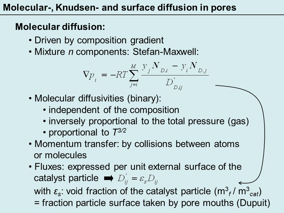 Diffusion and reaction in a catalyst particle.A continuum model First-Order Reactions.