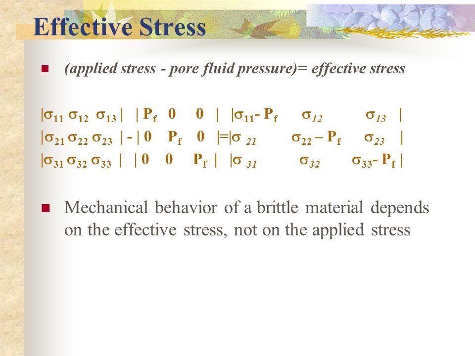 Effective Stress (applied stress - pore fluid pressure)= effective stress    11  12  13     P f 0 0      11 - P f  12  13    21  22  23   -