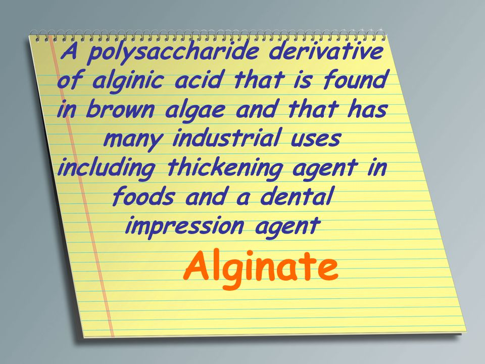 A polysaccharide derivative of alginic acid that is found in brown algae and that has many industrial uses including thickening agent in foods and a d