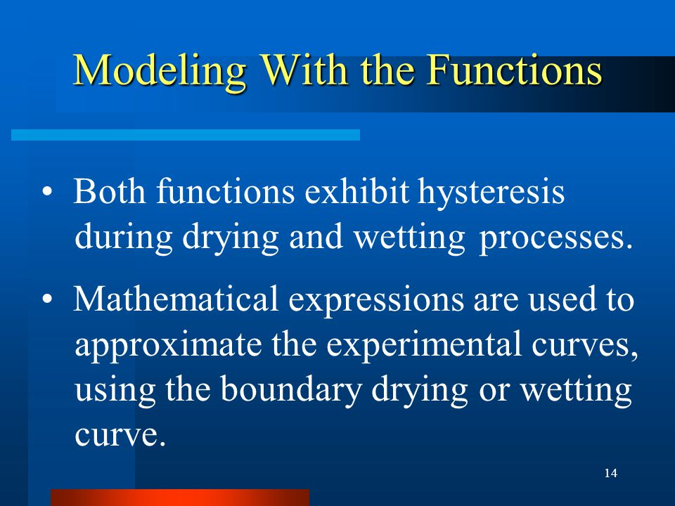 14 Modeling With the Functions Both functions exhibit hysteresis during drying and wetting processes.