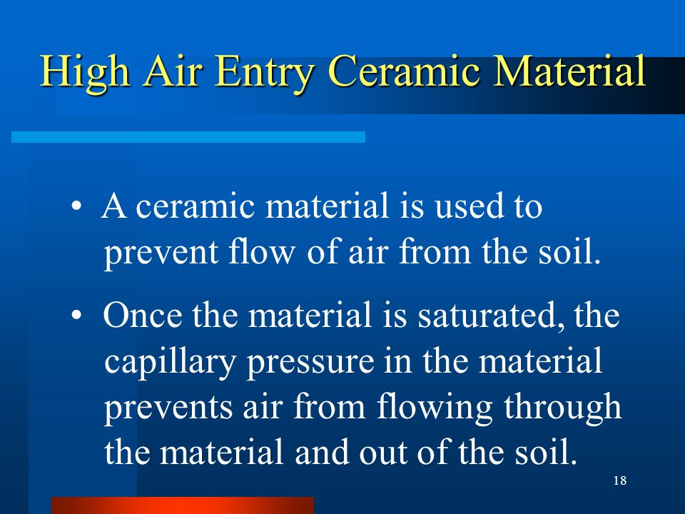 18 High Air Entry Ceramic Material A ceramic material is used to prevent flow of air from the soil.
