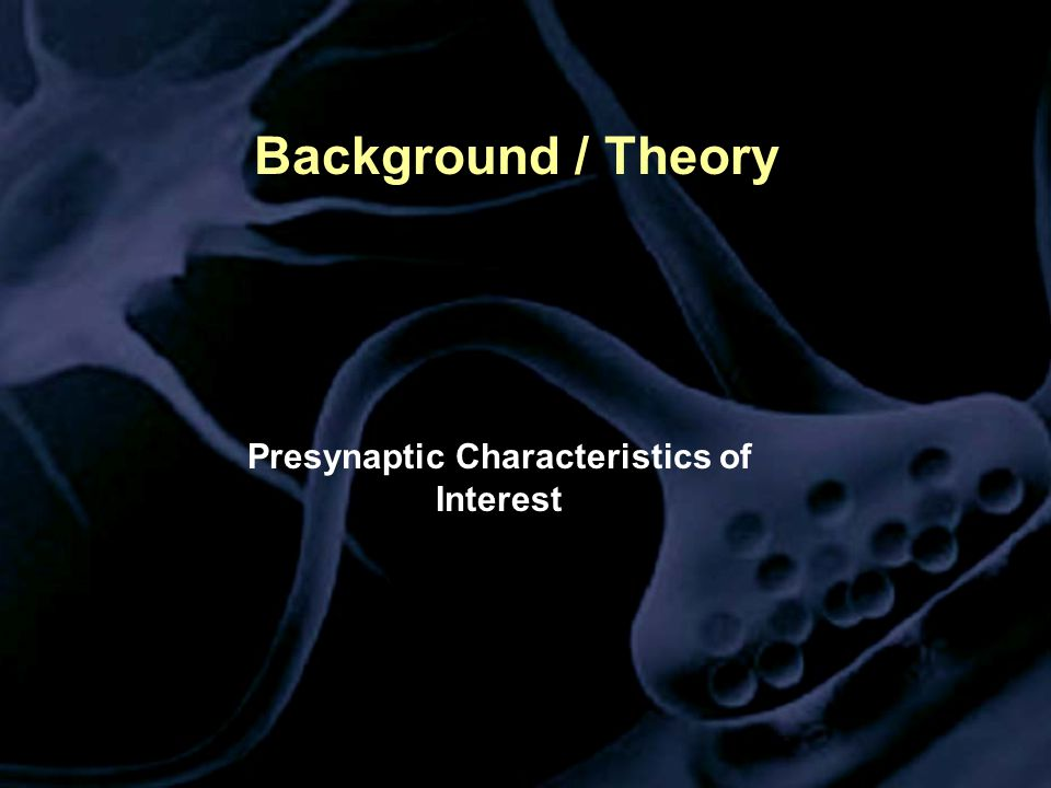 Background / Theory Presynaptic Characteristics of Interest