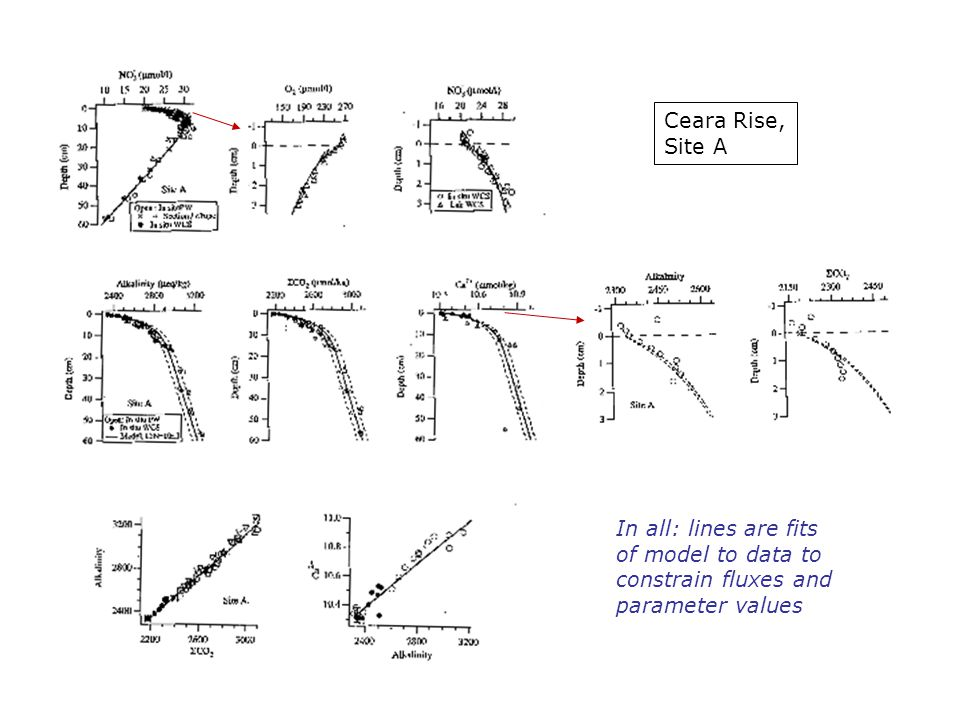In all: lines are fits of model to data to constrain fluxes and parameter values Ceara Rise, Site A